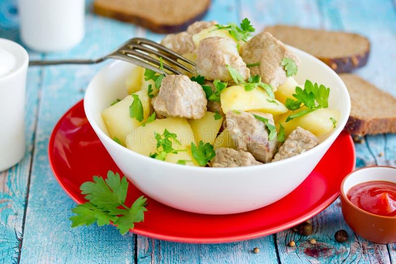Stew πατατών χοιρινού κρέατος goulash στοκ εικόνα