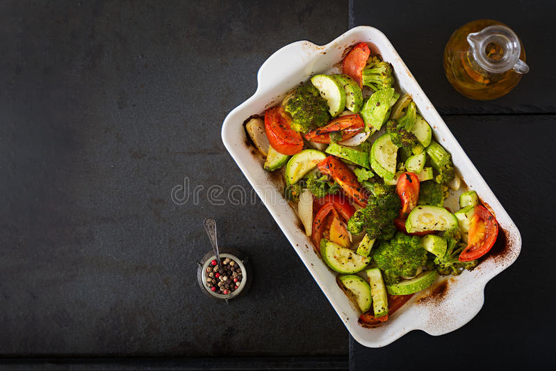 Stew of baked vegetables. Healthy food. Proper nutrition. Vegan dish. Flat lay. Top view royalty free stock images