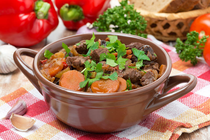 Stew With Beef, Vegetables And Prunes In A Saucepan Stock Photo