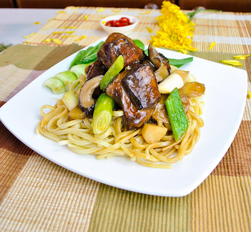 Stew fried duck noodle, asian food royalty free stock images