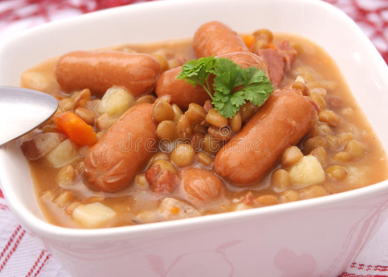 Stew of lentils. A fresh stew of lentils with sausages stock photography