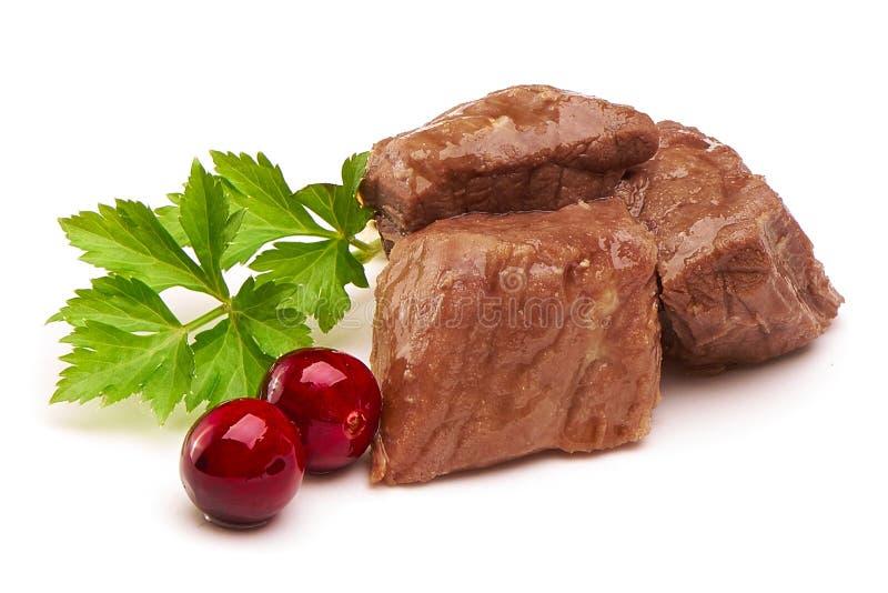 Stew Meat med örter, närbild som isoleras på vit bakgrund fotografering för bildbyråer