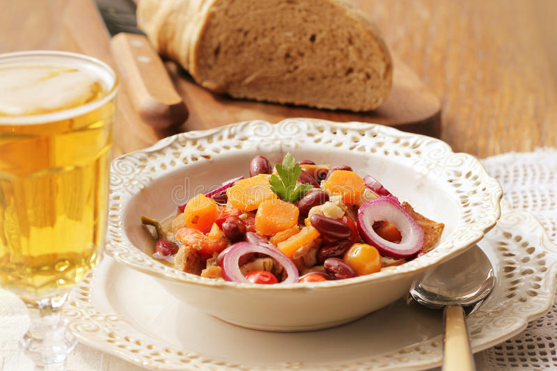 Stew with red beans stock image