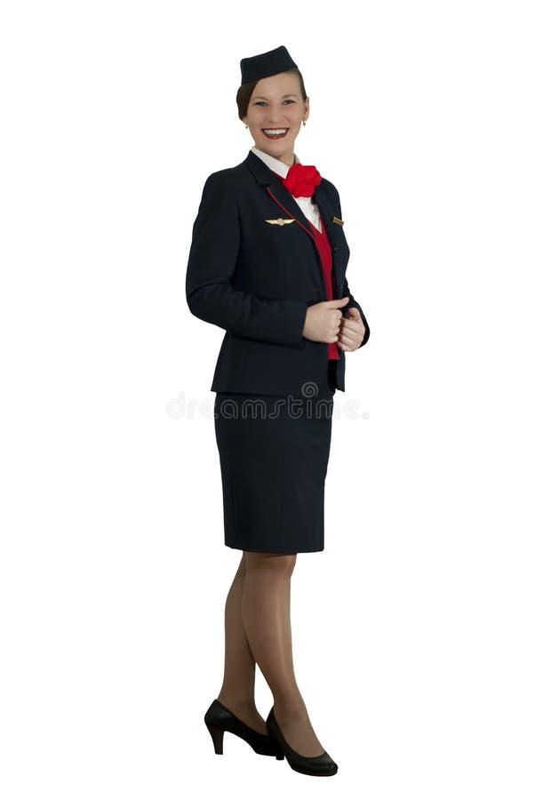 steward (hôtesse de l'air) sur le fond blanc photos stock