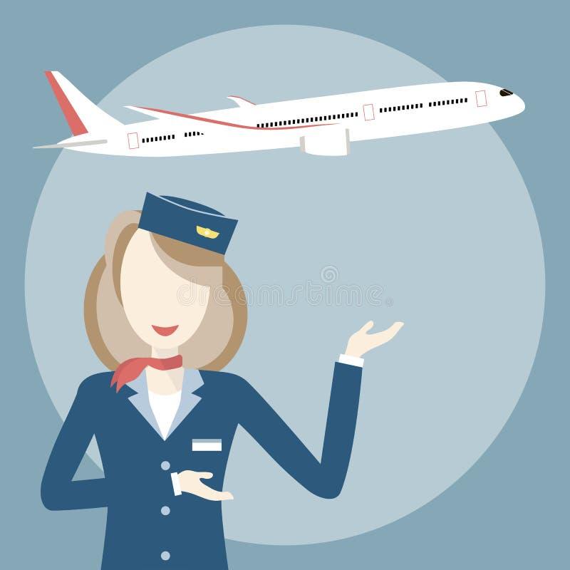 Stewardesa i samolot royalty ilustracja