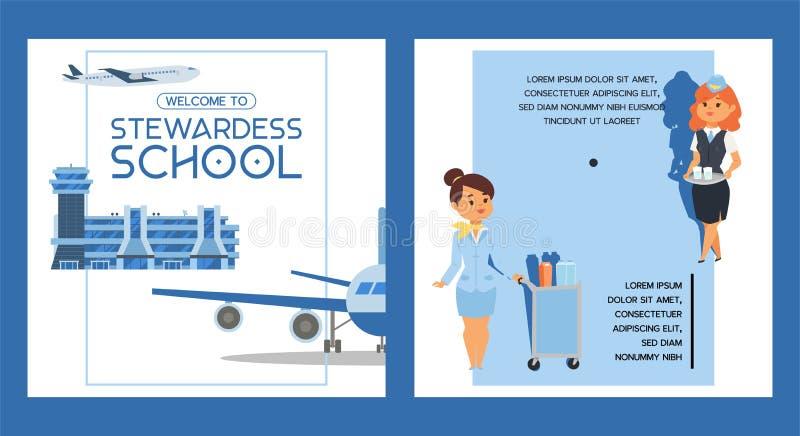 Stewardesa lota załogi ekonoma pilota szkolni wektorowi ludzie studiuje komarnica na samolotowym samolocie w lotniskowej ilustrac ilustracja wektor
