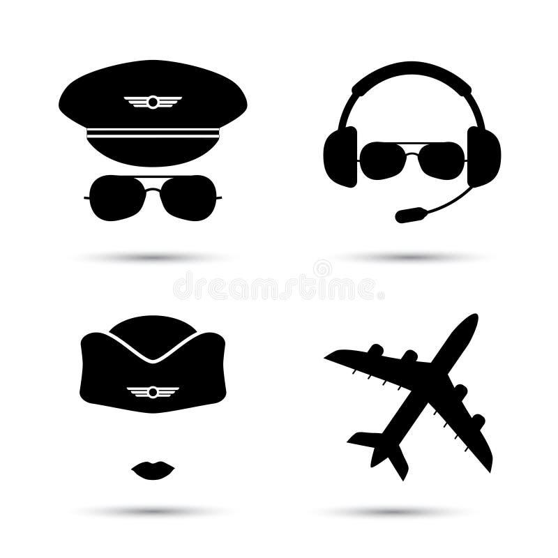 Stewardesa, pilot, samolotowe wektorowe ikony ilustracji