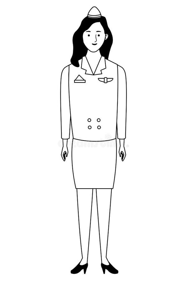 Stewardesa samolotu pracownika charakteru kreskówka w czarny i biały ilustracja wektor