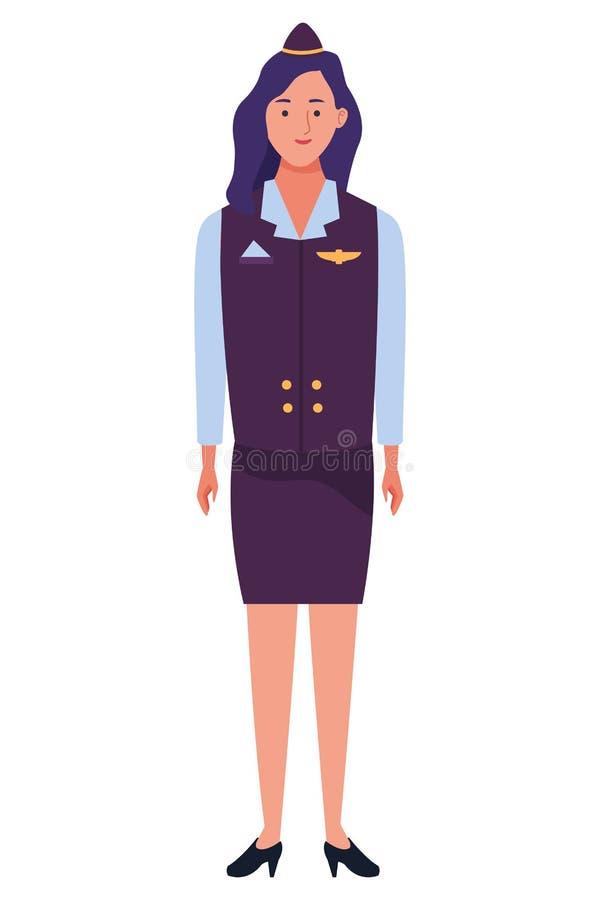 Stewardesa samolotu pracownika charakteru kreskówka royalty ilustracja