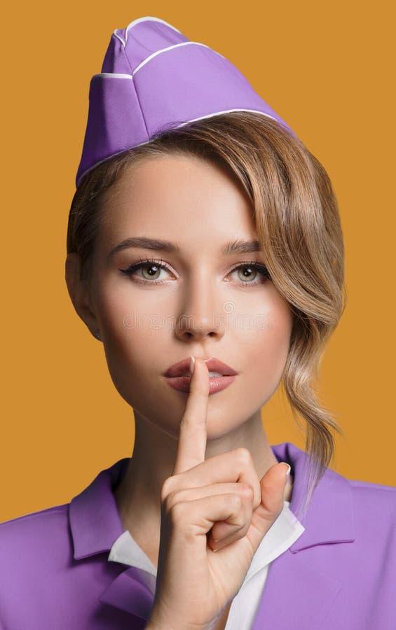 Stewardesa seansu ciszy gest obraz stock