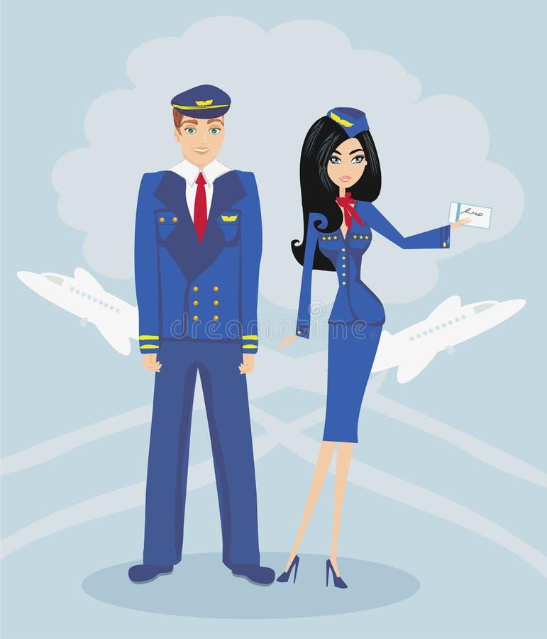 Stewardesa w mundurze i pilot ilustracja wektor