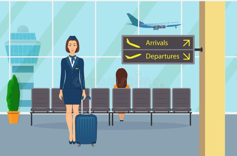 Stewardesa w mundurze z walizki pozycją w poczekalni przy lotniskowym siedzeniem Lotniskowy wnętrze, informacja znaki Płaski Tak ilustracja wektor
