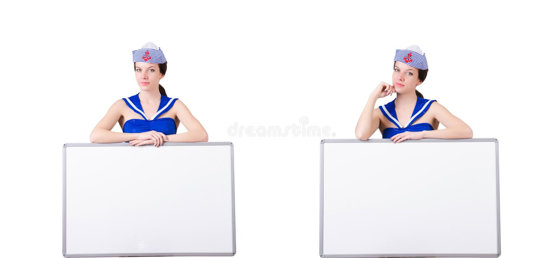 Stewardesa z puste miejsce desk? na bielu zdjęcia royalty free