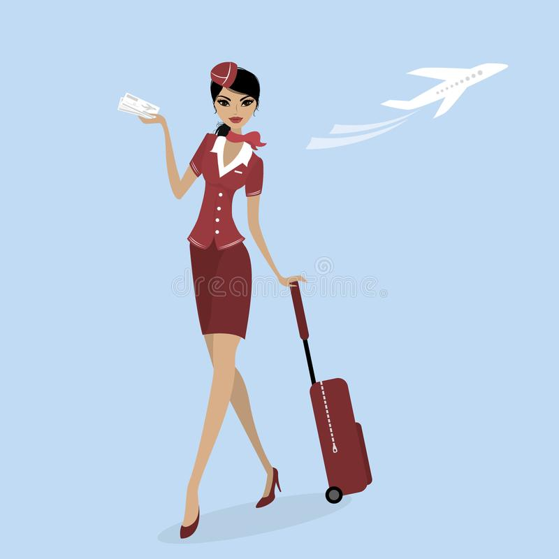 Stewardess с чемоданом и билетом на самолет иллюстрация штока