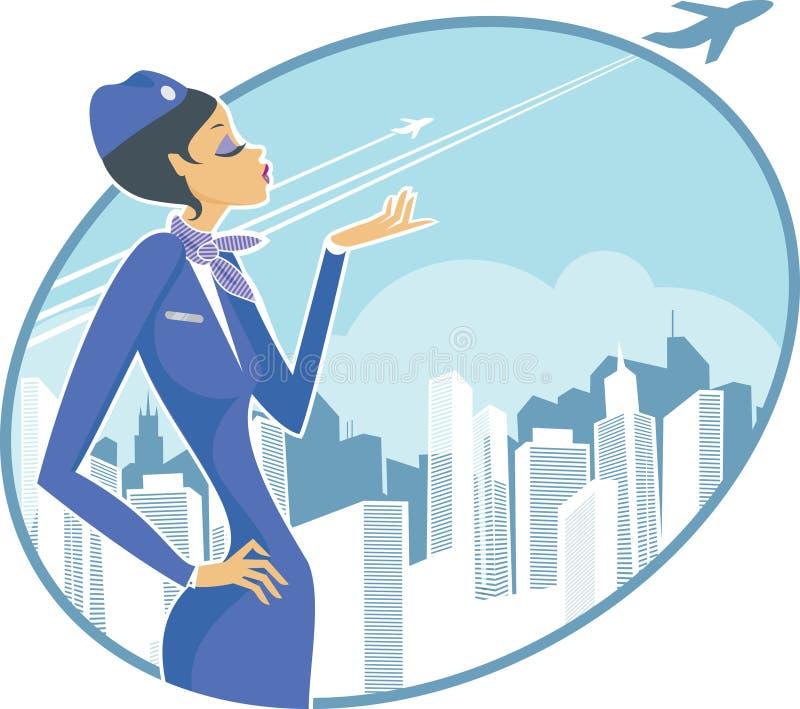 stewardess royaltyfri illustrationer