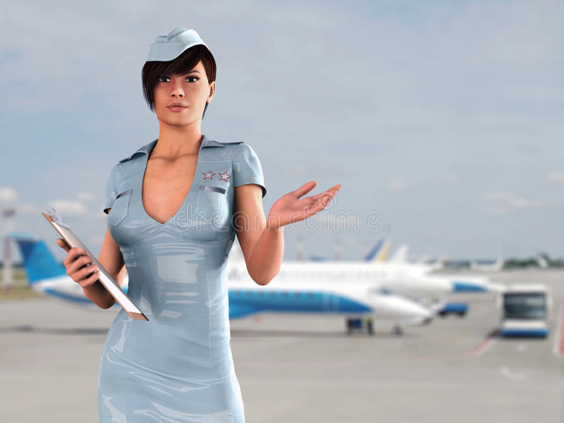 Stewardess In Airport Stock Photo