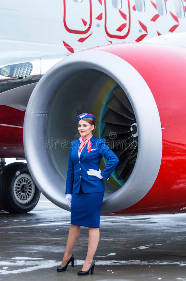 Stewardess and Boeing 737 Rossiya airlines, airport Pulkovo, Russia Saint-Petersburg 11 November 2016 stock photos