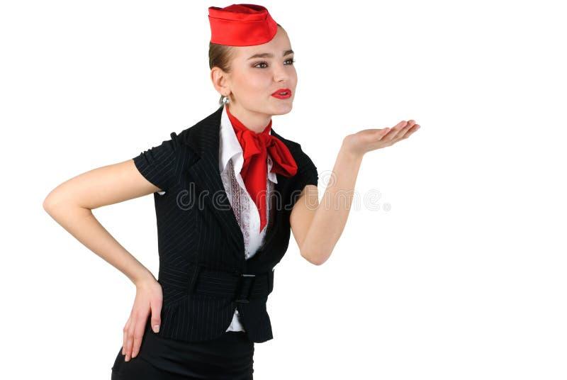 Stewardess che salta un bacio immagini stock