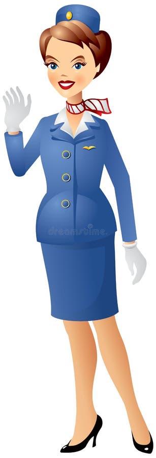 Stewardess in der Uniform lizenzfreie abbildung