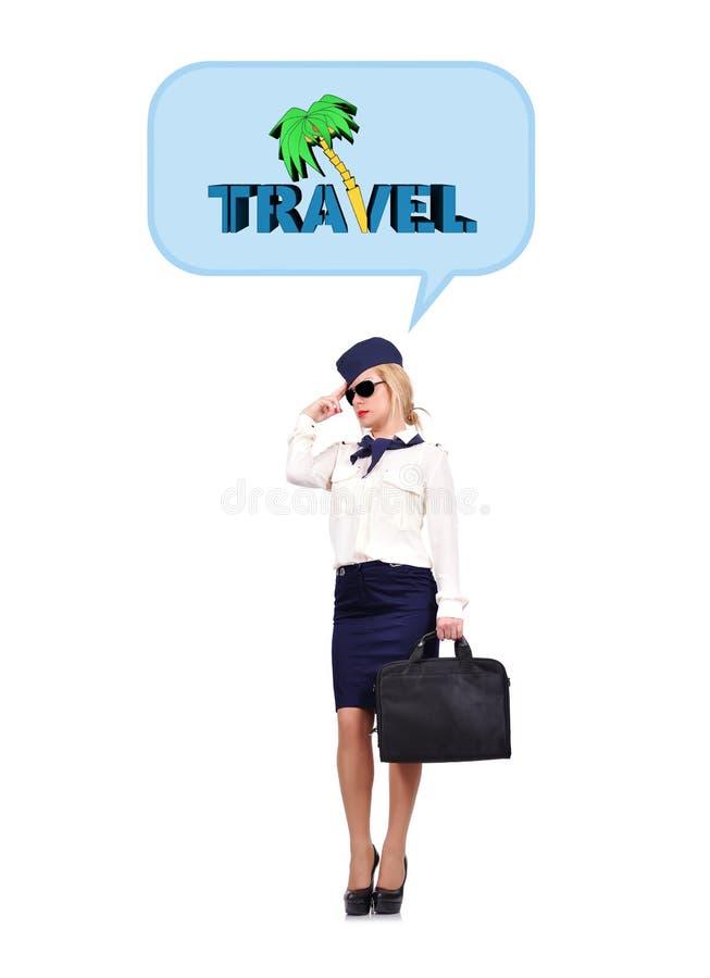 Stewardess die van reis dromen stock afbeelding