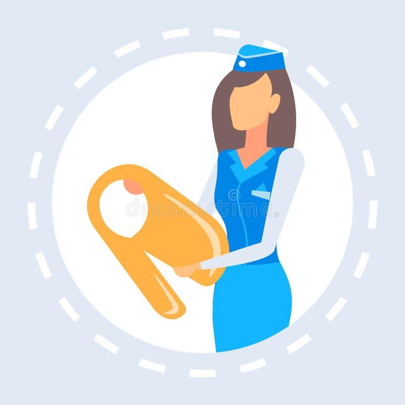 Stewardess die voorstellen hoe te van het de veiligheidsconcept van het reddingsvestvliegtuig de begeleidende vrouwelijke werknem stock illustratie
