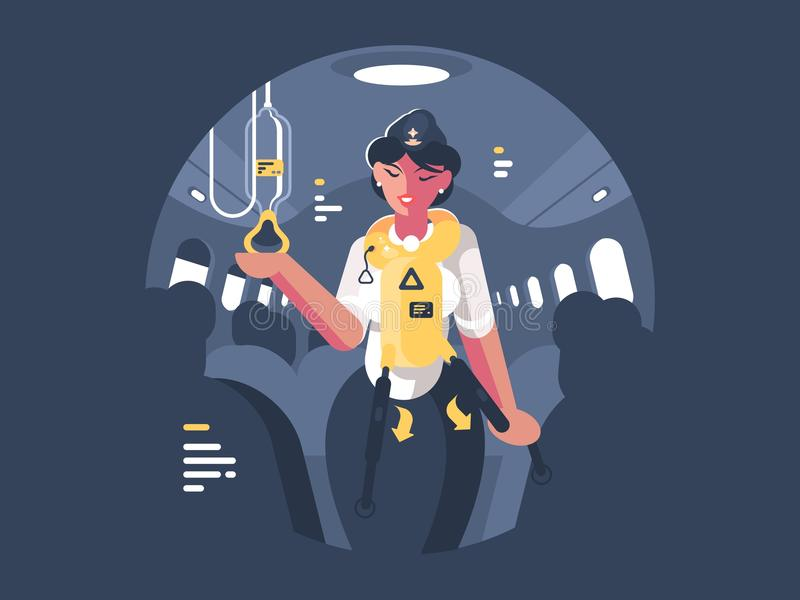 Stewardess explains safety on board aircraft royalty free illustration