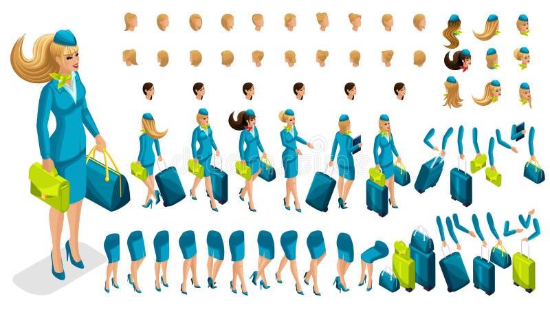 stewardess för konstruktör 3D Skapa ditt tecken vektor illustrationer