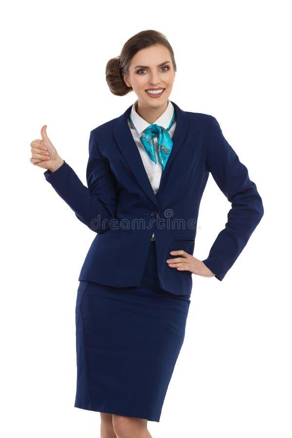 Stewardess Gives Thumb Up royalty-vrije stock afbeeldingen