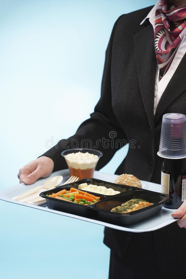 Stewardess Holding Tray With Airplane Food royaltyfri bild