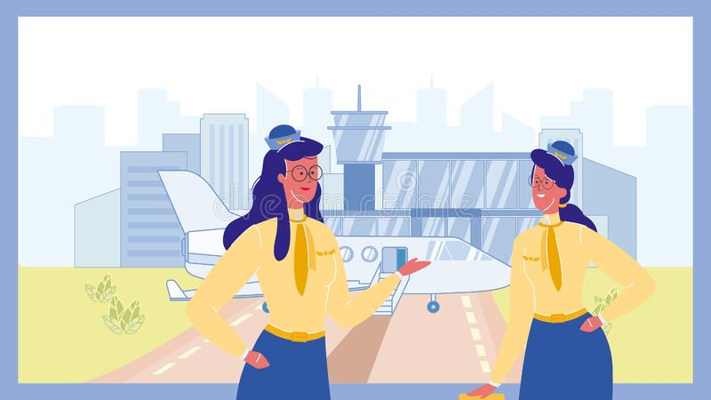 Stewardess i illustration f?r flygplatsf?rgvektor vektor illustrationer