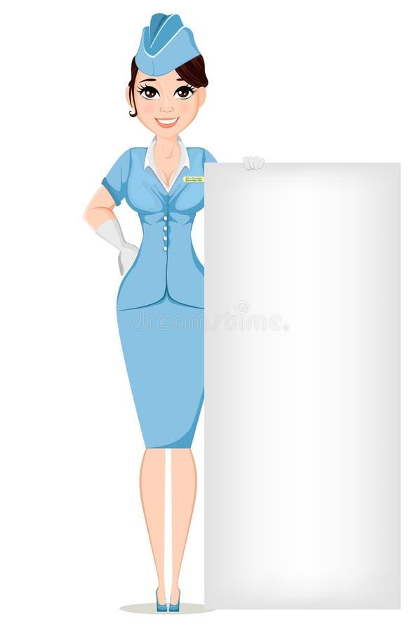 Stewardess i yrkesmässig likformig Gulligt le kvinnaarbete som luftlyxfnasket som står nära stort tecken royaltyfri illustrationer