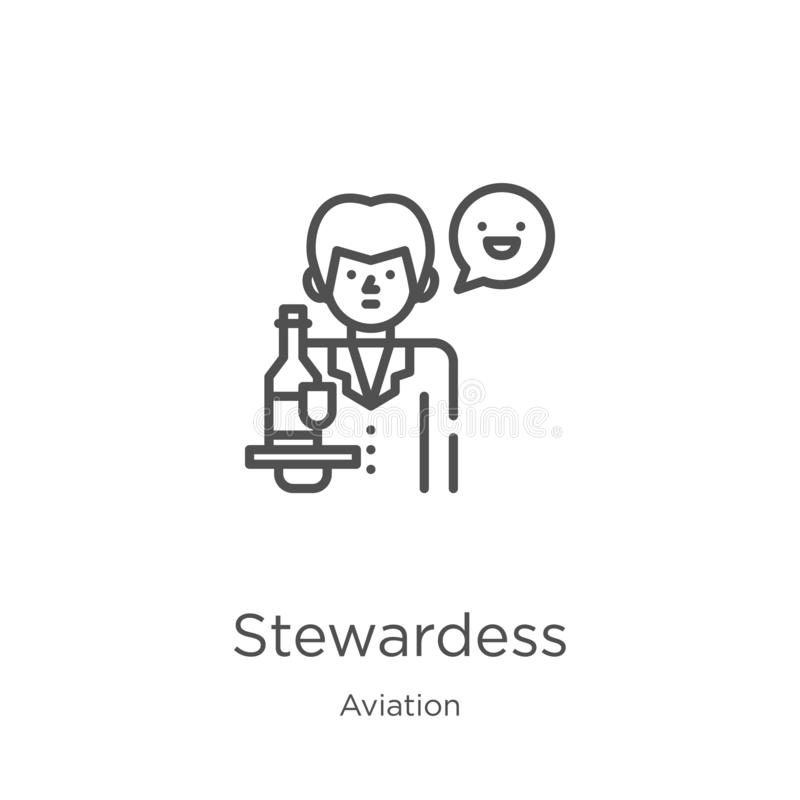 Stewardess icon vector from aviation collection. Thin line stewardess outline icon vector illustration. Outline, thin line. Stewardess icon. Element of aviation stock illustration