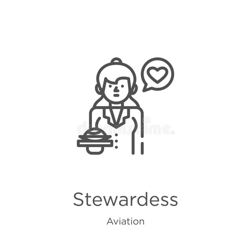 Stewardess icon vector from aviation collection. Thin line stewardess outline icon vector illustration. Outline, thin line. Stewardess icon. Element of aviation vector illustration