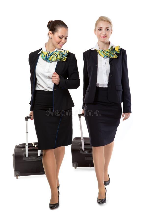 Stewardess met bagagezakken stock afbeelding