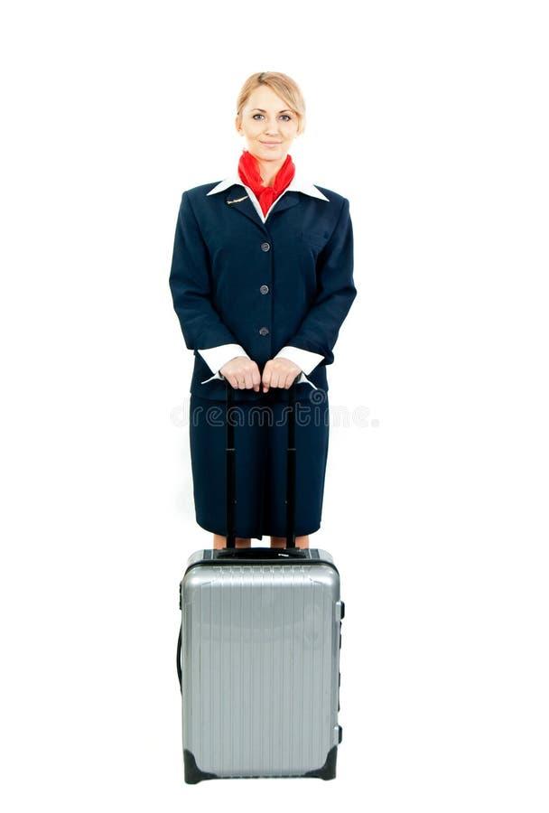 Stewardess met geval stock afbeelding