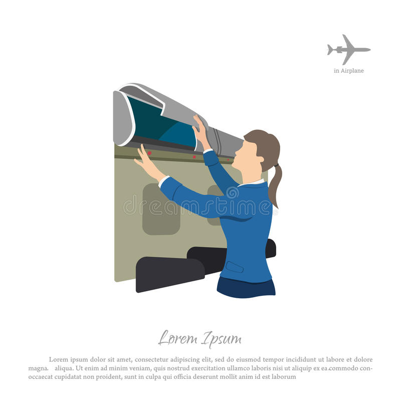 Stewardess opens a box for luggage on the airplane. Woman in uni vector illustration