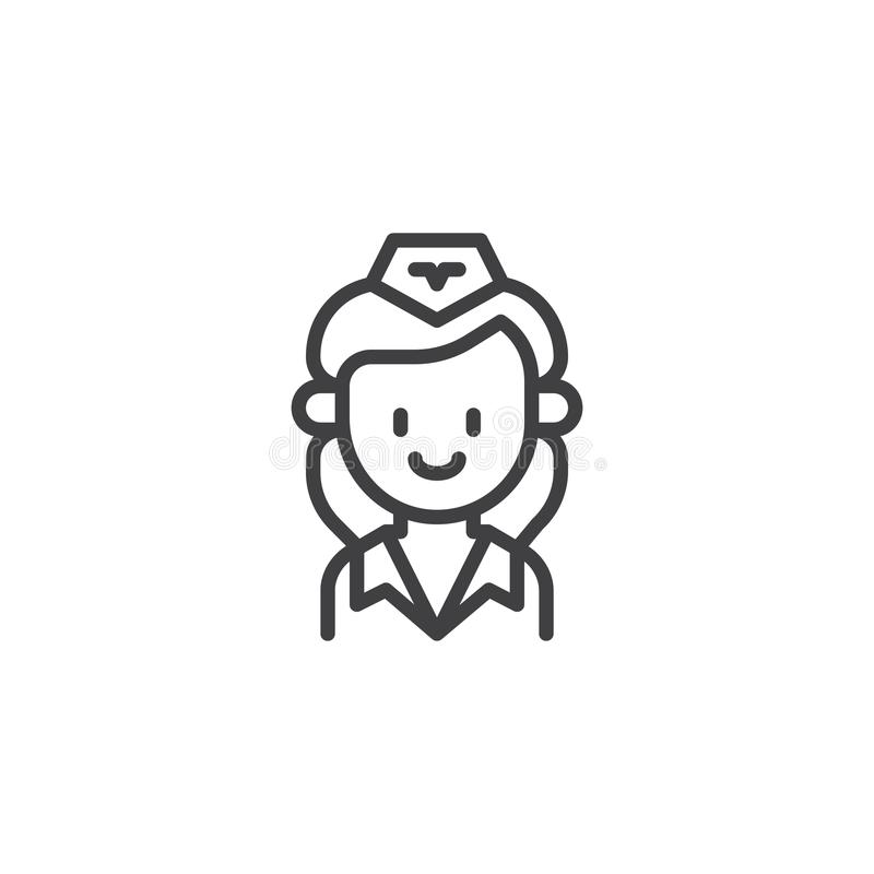 Stewardess Outline Icon Stock Illustration Illustration Of