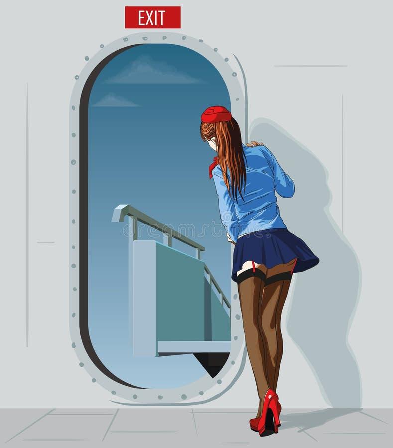 Stewardess på dörren royaltyfri illustrationer