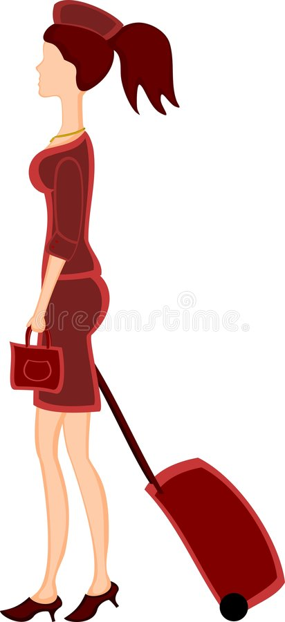 Stewardess In Red Stock Photography
