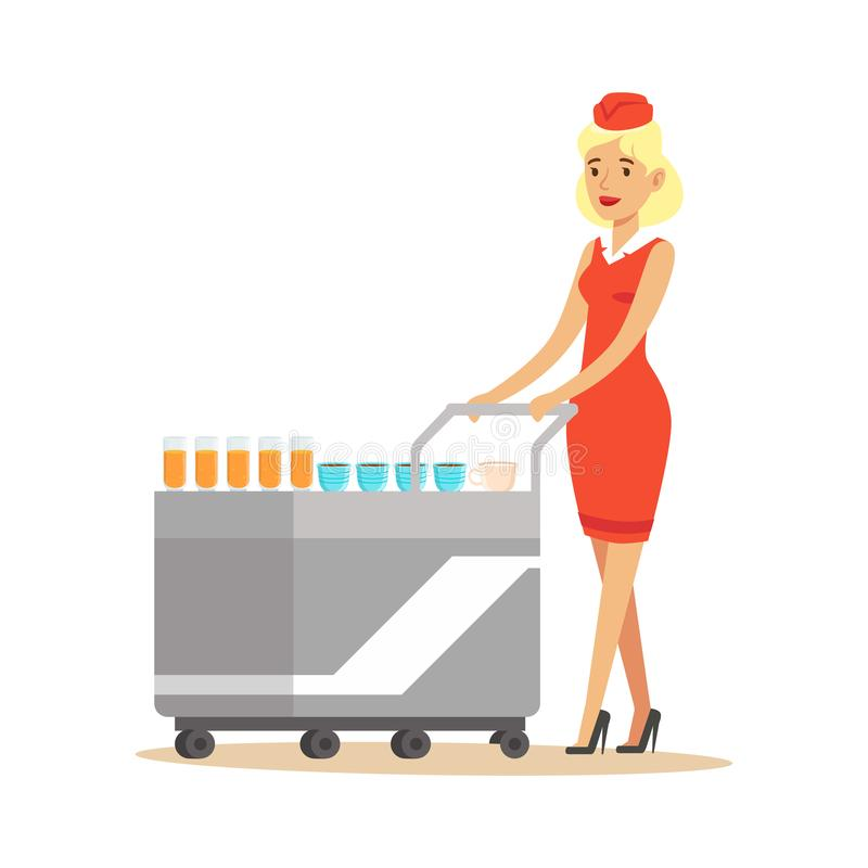 Stewardess in red uniform serving passengers on the airplane with cart, flight attendant on airplane vector Illustration stock illustration