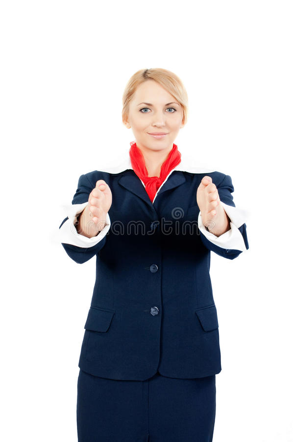 Download Stewardess Showing The Exit Stock Photo - Image: 14599334