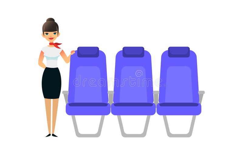 The stewardess is waiting for the passengers. Flight attentant female stands near the seats. Vector flat colorful royalty free illustration