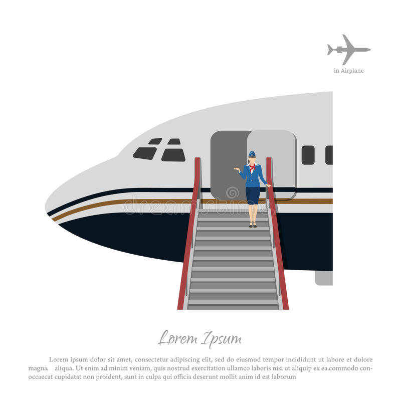 Stewardess welcomes passengers at the aircraft ladder. Flight attendant near the airplane door stock illustration