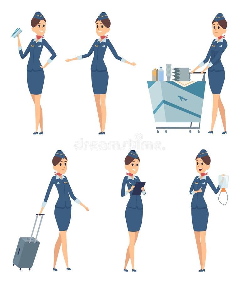 stewardess Yrkesmässig blå likformig för kvinnalyxfnask av att stiga ombord tecken för tecknad film för flygplanflickavektor stock illustrationer