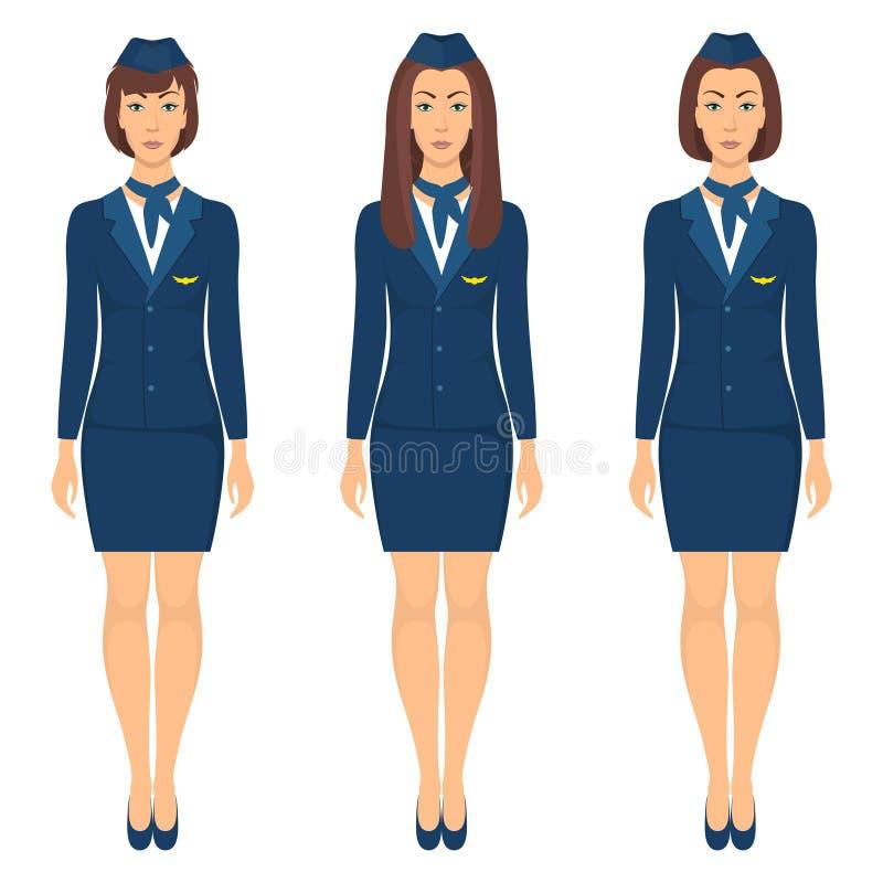 Stewardesse in der blauen Uniform, Satz Stewardess, der im vollen Wachstum steht Vektorillustration, lokalisierte, flache Art lizenzfreie abbildung