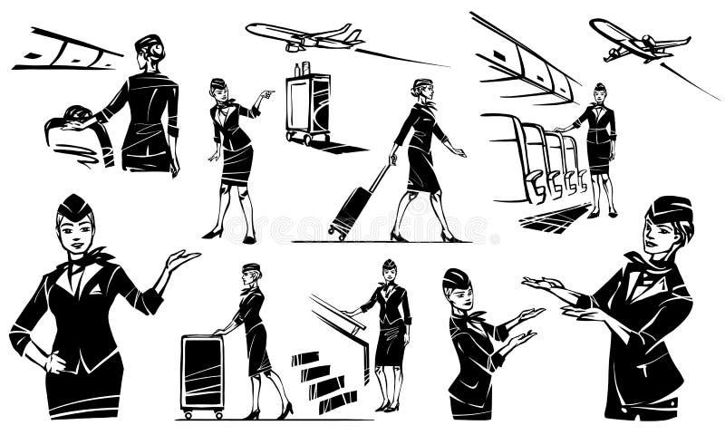 Stewardessen går och rullar hennes resväska Härlig flygvärdinna i ett flygplan vektor illustrationer