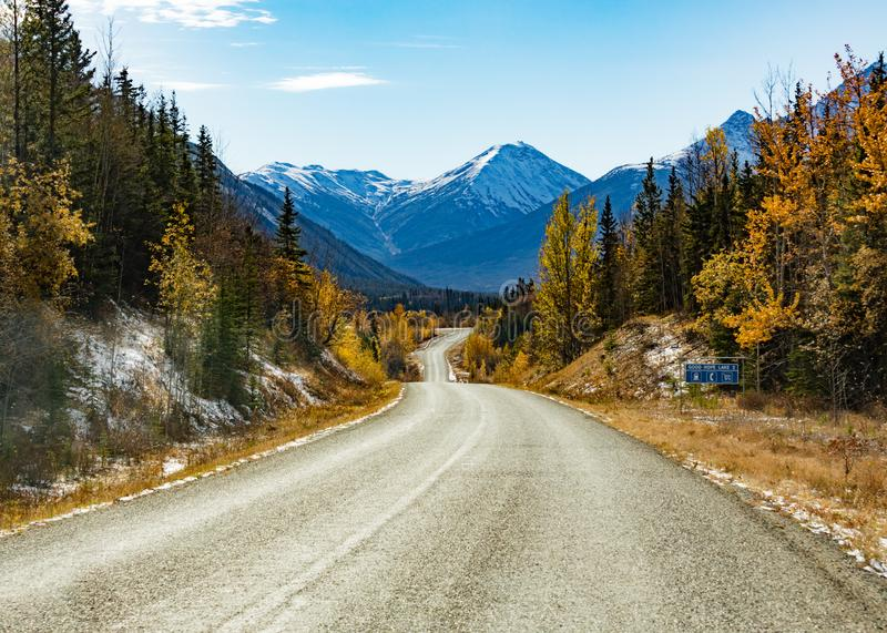 Stewart Cassiar Highway 37 in fall BC Canada. Late fall in the mountains around Stewart-Cassiar Highway 37 in Northern British Columbia, BC, Canada, just north stock photo