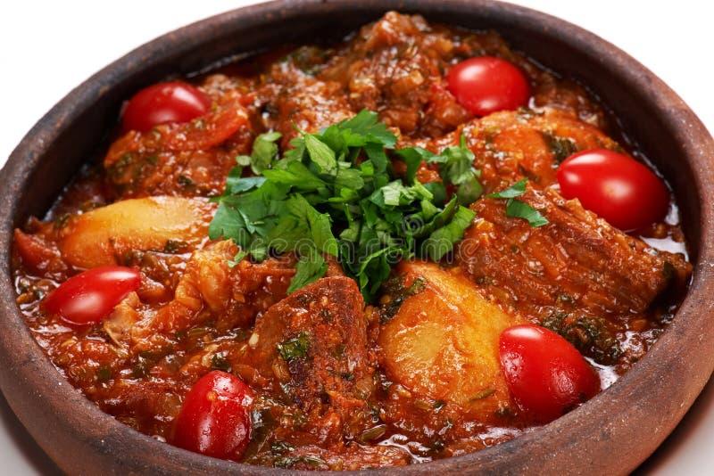 Stewed meat med potatisen royaltyfri bild