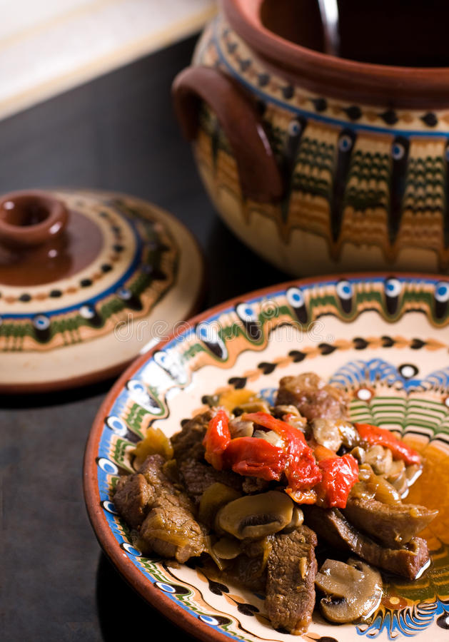 Download Stewed Meat With Mushrooms And Sweet Pepper Stock Image - Image: 10883415