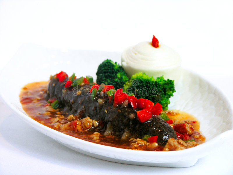 Stewed sea cucumber. Stewed japanese sea cucumber with spicy minced pork royalty free stock images